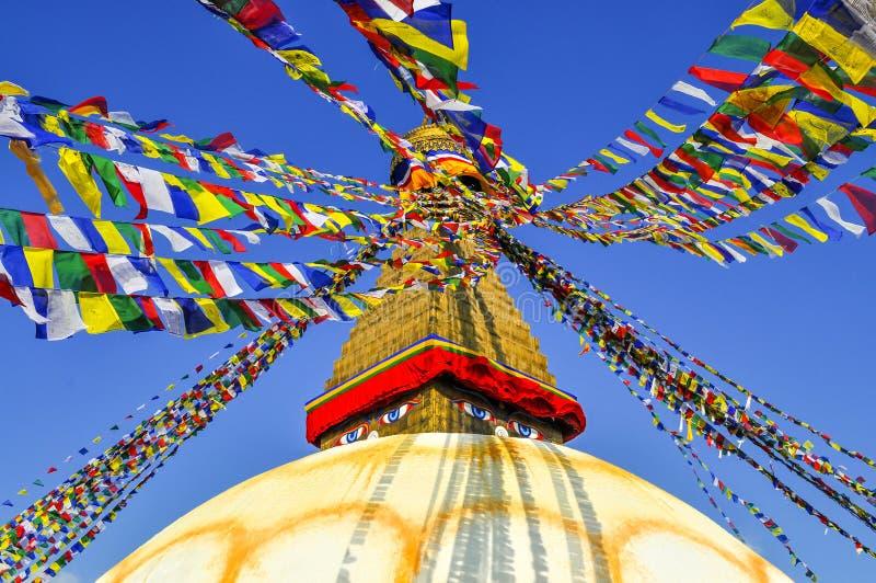 Bodhanath Stupa i Kathmandu Valley arkivfoton