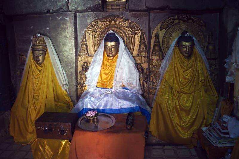 bodhgaya内部mahabodhi寺庙 免版税库存照片