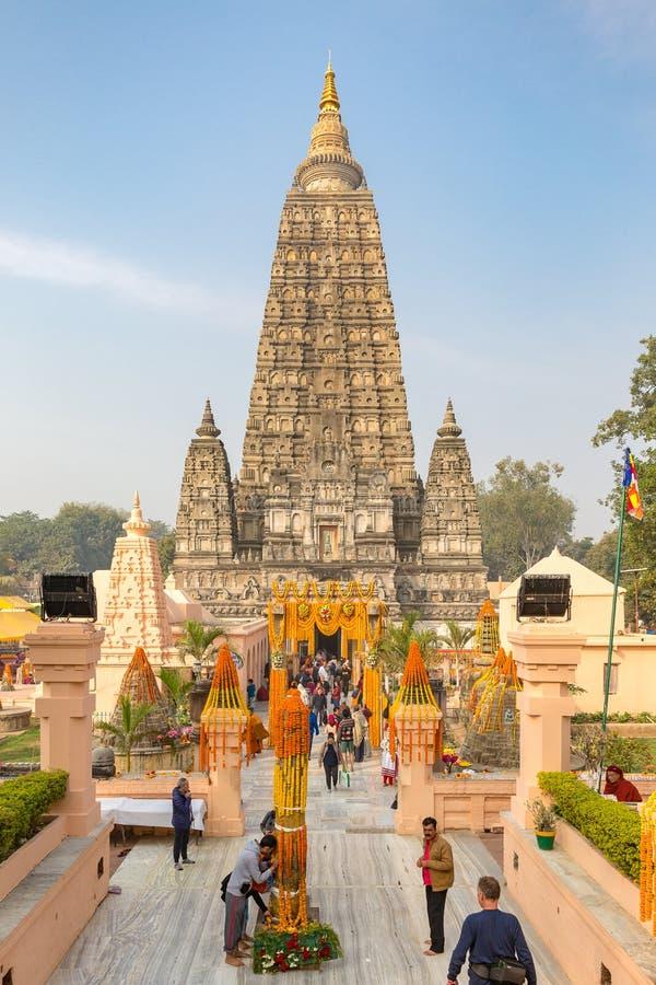 Bodhgaya, Bihar, Índia - 12 21 2017; Templo de Mahabodhi imagens de stock royalty free