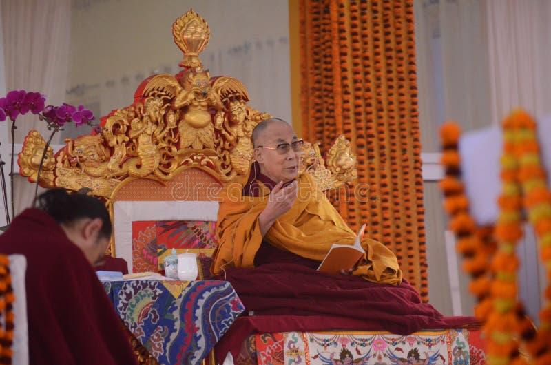 Holiness Dalai lama in Bodhgaya, India. stock photo