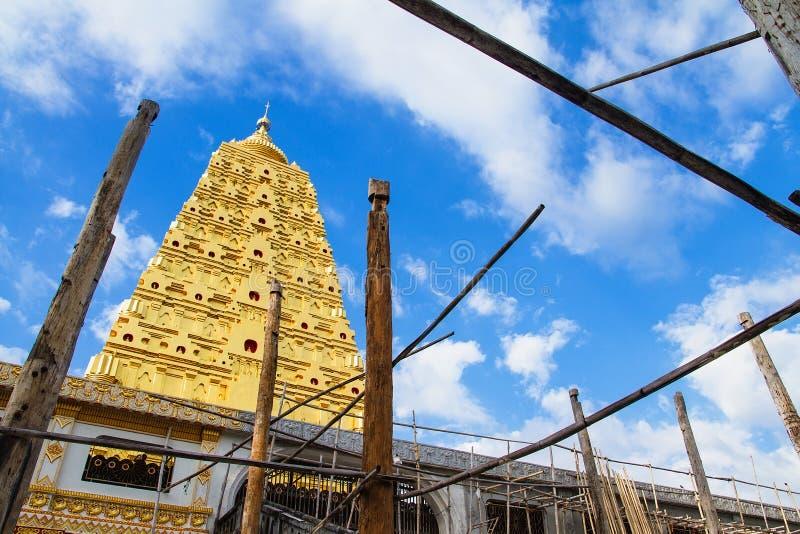 Download Bodhgaya Stupa Or Phuthakaya Pagoda At Sangklaburi, Kanchanaburi Stock Photo - Image: 83704518