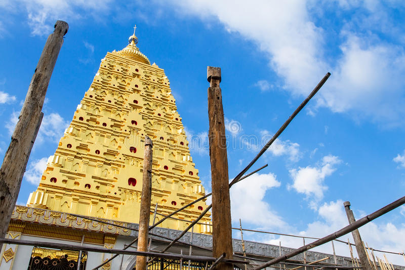 Download Bodhgaya Stupa Or Phuthakaya Pagoda At Sangklaburi, Kanchanaburi Stock Photo - Image: 83705544