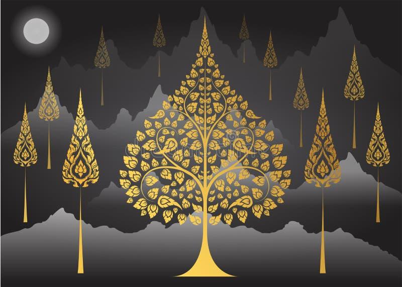 Bodhi Drzewna tajlandzka tradycja na Halnym tle ilustracja wektor