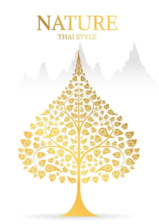 Bodhi liścia i drzewa złocisty kolor tajlandzka tradycja ilustracji