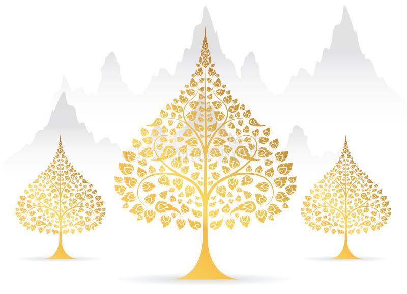 Bodhi liścia i drzewa złocisty kolor tajlandzka tradycja royalty ilustracja