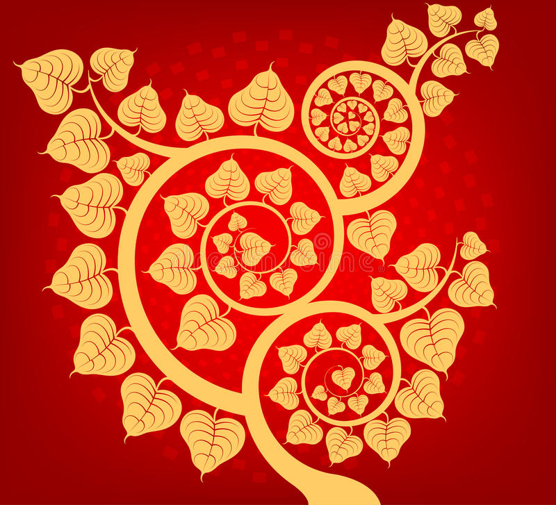 Illustration Bodhi Tree Asian Art Pattern On A Red Abstract Background