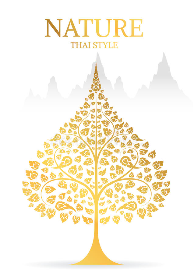 Bodhi tree and leaf gold color of thai tradition. Vector stock illustration