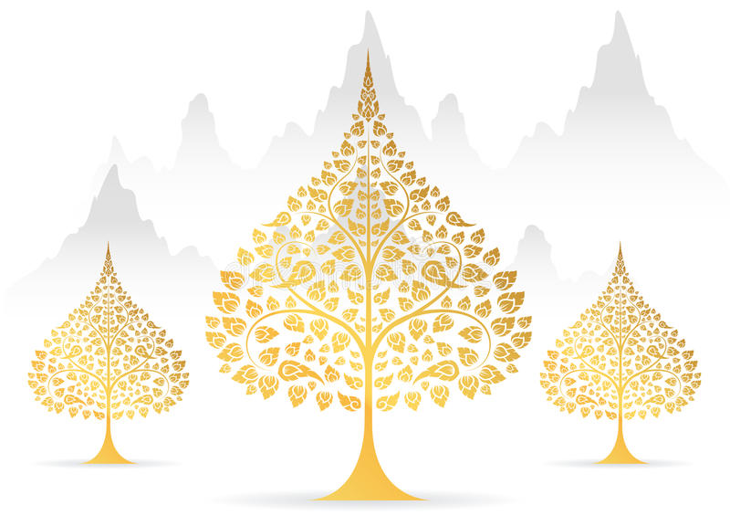 Bodhi tree and leaf gold color of thai tradition. Vector royalty free illustration