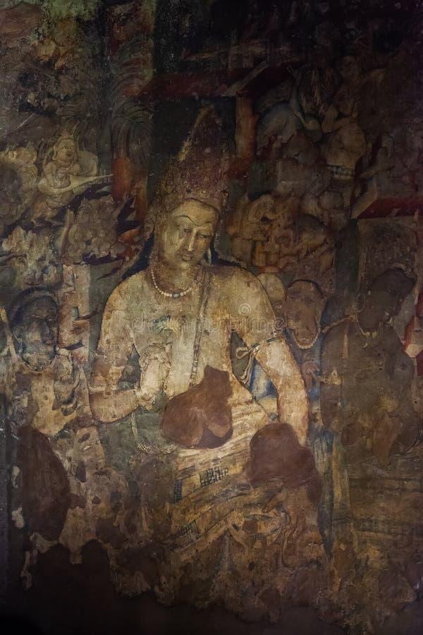 Bodhisattva Padmapani en las cuevas de Ajanta fotografía de archivo libre de regalías