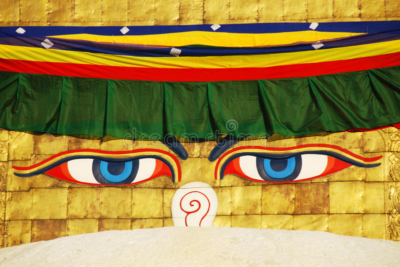 bodhnath φρόνηση stupa του Κατμαντού ματιών του Βούδα στοκ εικόνες