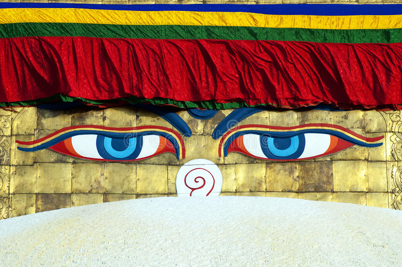 bodhnath stupa του Κατμαντού ματιών του Βούδα στοκ φωτογραφίες