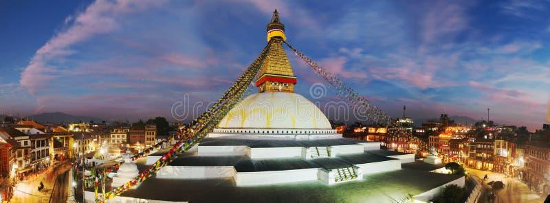 Bodhnath stupa -加德满都晚上视图  免版税库存图片