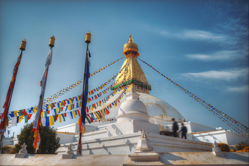 Bodhnath stupa. Evening view of Bodhnath stupa . Kathmandu . Nepal royalty free stock image