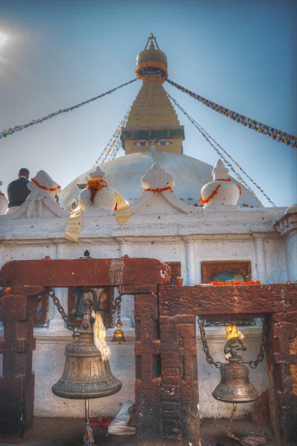 Bodhnath stupa. Evening view of Bodhnath stupa . Kathmandu . Nepal stock photo
