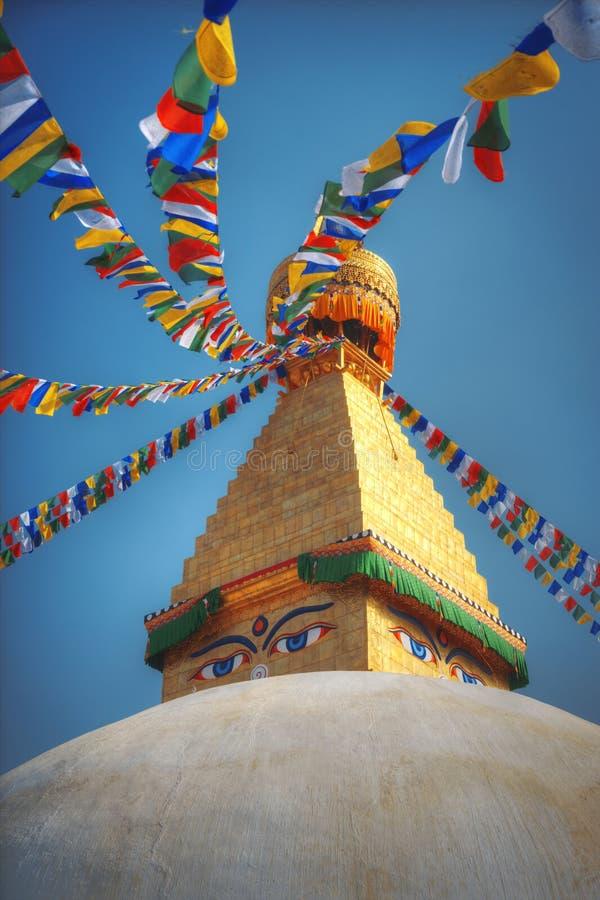 Bodhnath stupa. Evening view of Bodhnath stupa . Kathmandu . Nepal stock images