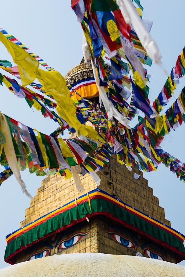 Bodhnath stupa i Katmandu, Nepal arkivfoto