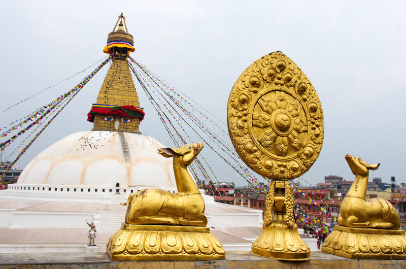 bodhnathkathmandu nepal stupa arkivbild