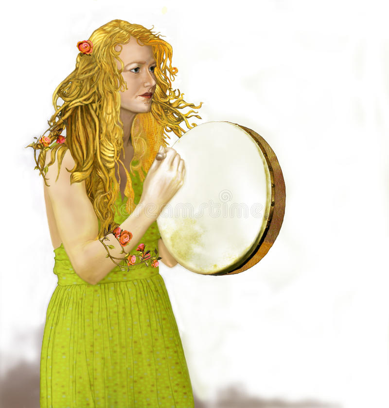 Bodhran Lady with Golden Hair. A golden haired beauty plays the Irish drum, known as the bodhran. She has flowers intertwined through her hair and on her arm stock photos