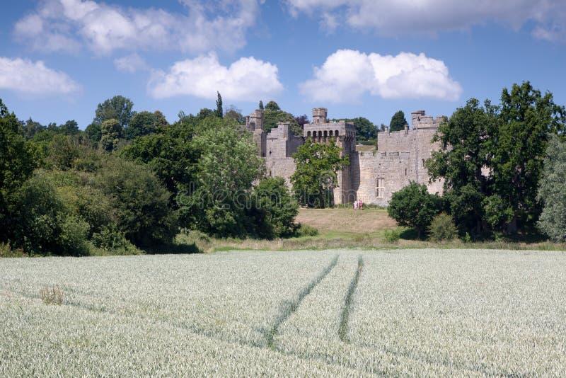 BODIAM, ВОСТОЧНОЕ SUSSEX/UK - 26-ОЕ ИЮНЯ: Замок Bodiam принятый от pu стоковое фото