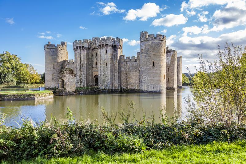 Bodiam Castle with moat waters stock images