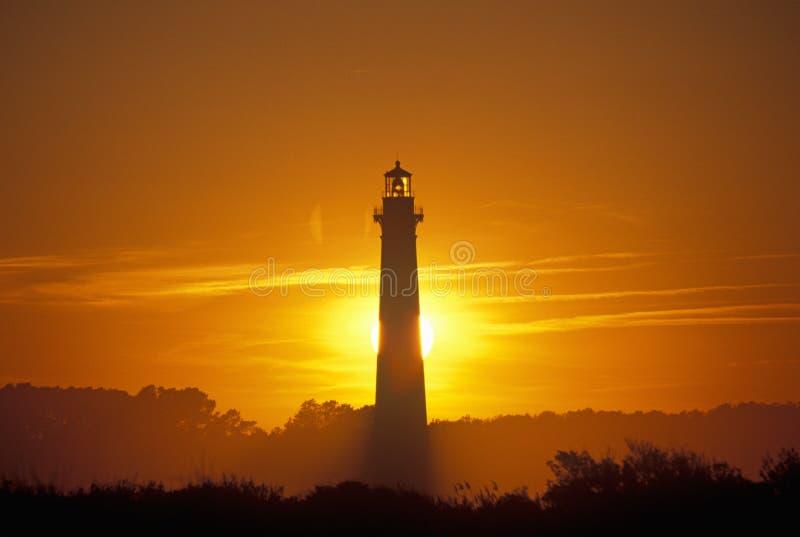 Bodie海岛灯塔和访客中心在哈特拉斯角全国海滨, NC 库存图片