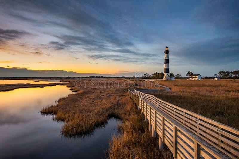 Bodie海岛灯塔,外面Bnks北卡罗来纳 免版税库存照片