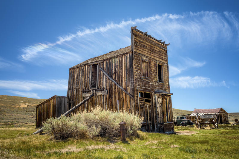 Bodie ghost town in California. Bodie is a historic state park from a gold rush era in the Bodie Hills east of the Sierra Nevada royalty free stock photography