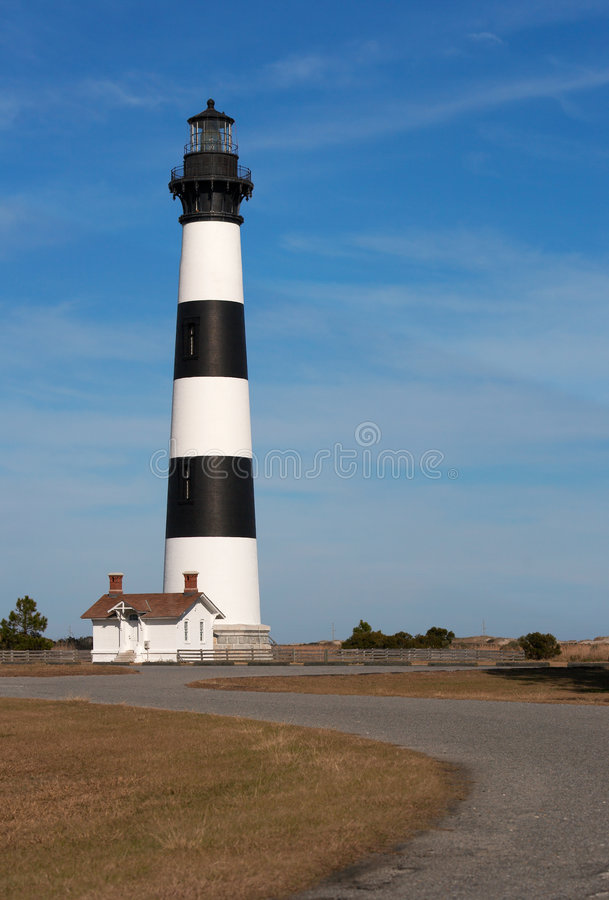 Bodie island. Light house on blue sky royalty free stock photography