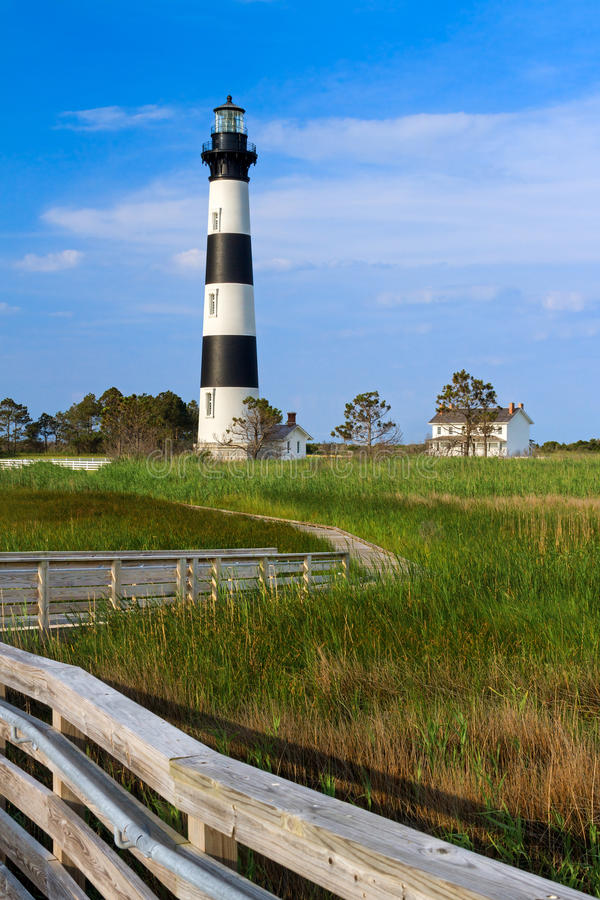 Bodie Island Light and Keeper's House. A wooden boardwalk leads to Bodie Island Lighthouse and keepers station at Cape Hatteras National Seashore on North royalty free stock photo