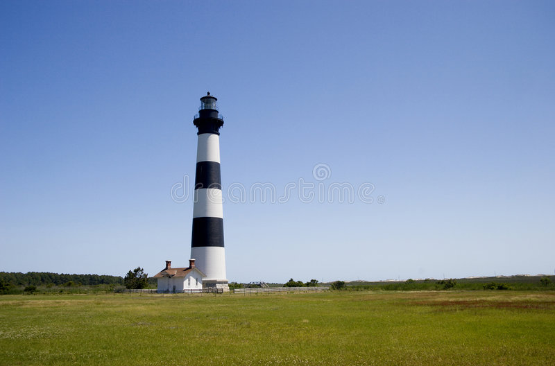 Bodie Island Lighthouse. With black & white horizontal bands This light was built in 1872 royalty free stock photo
