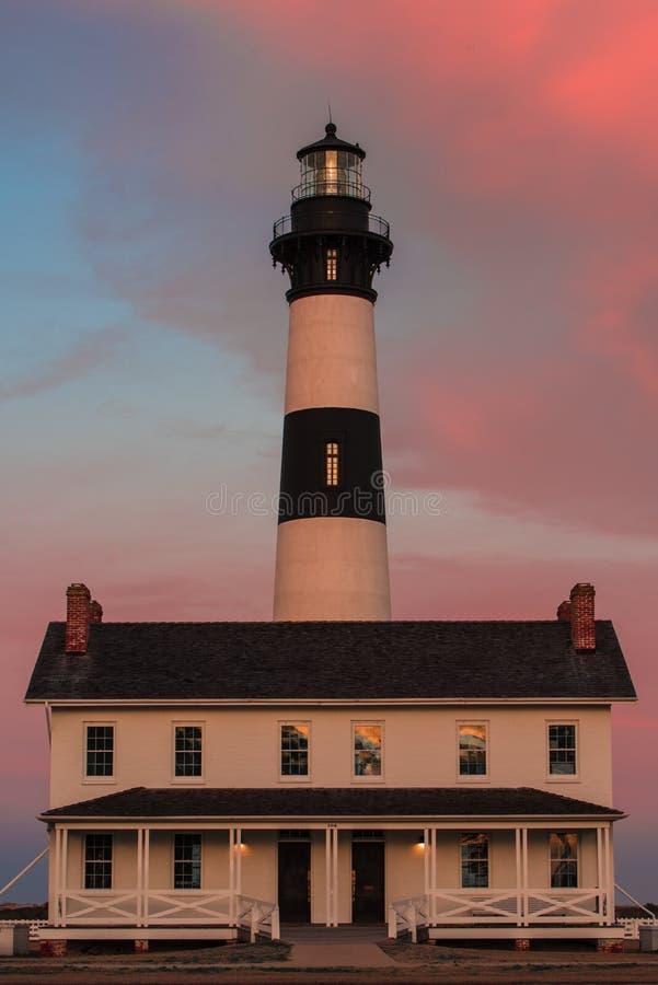 Bodie Island Lighthouse al tramonto immagini stock