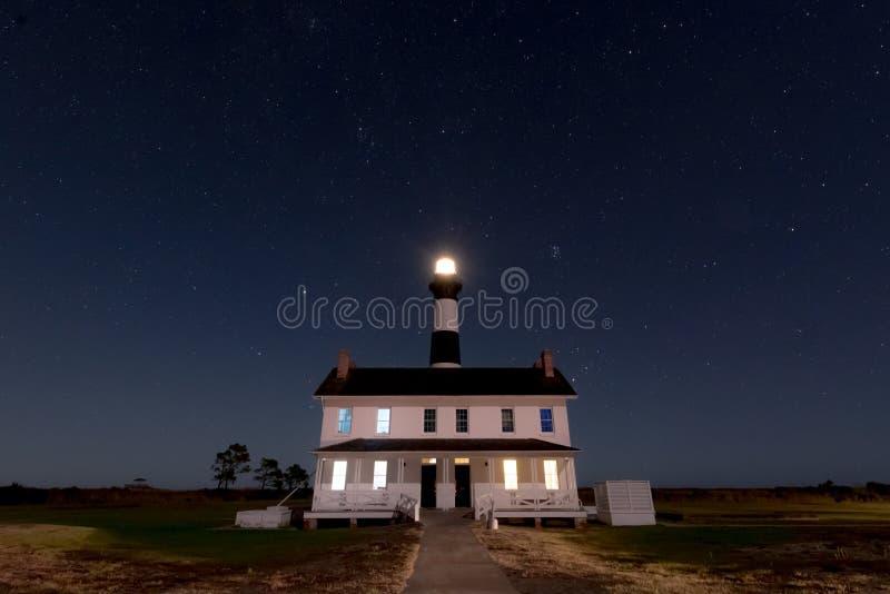 Bodie Island Lighthouse alla notte fotografia stock