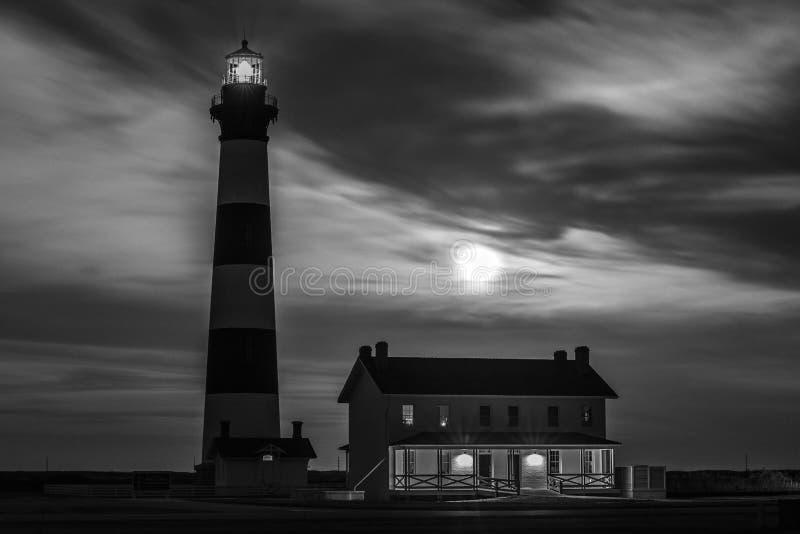 Bodie Island Lighthouse alla notte fotografia stock libera da diritti