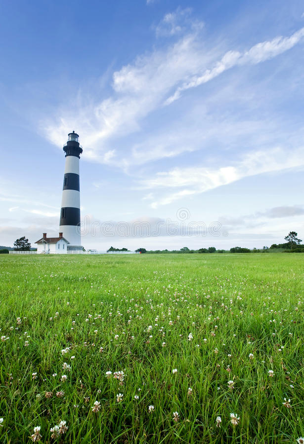 Bodie Island Lighthouse at dusk. Bodie Island Lighthouse, on the outer banks of North Carolina, near Nag's Head, at dusk royalty free stock image