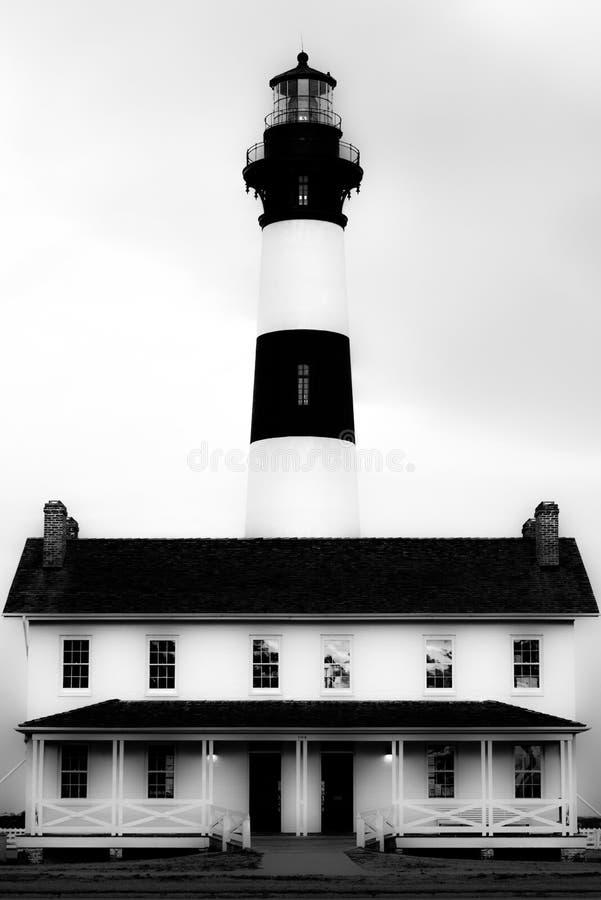 Bodie Island Lighthouse em preto e branco fotografia de stock