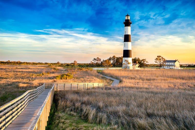 Bodie Island Lighthouse in Noord-Carolina stock foto