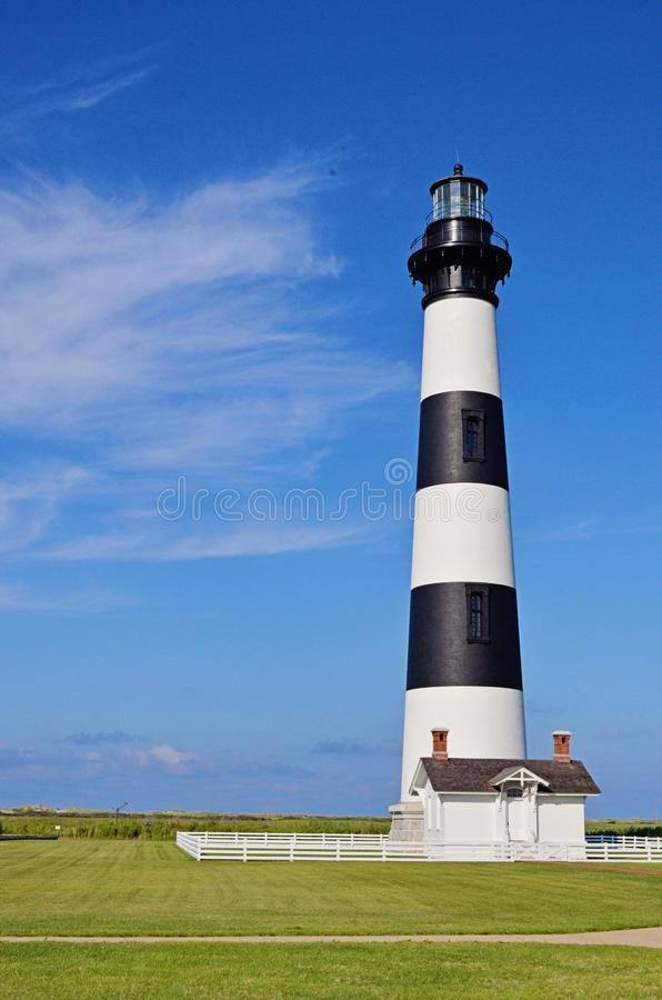 Bodie Island lighthouse of the OBX. Beautiful afternoon at the Bodie Island lighthouse in North Carolinas outer banks stock images