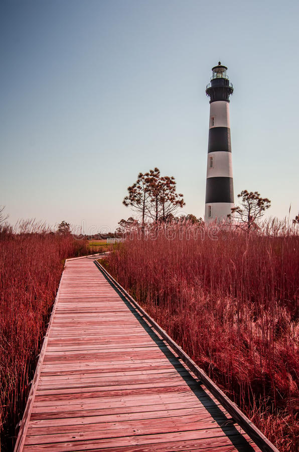 Bodie Island Lighthouse OBX udde Hatteras arkivbild