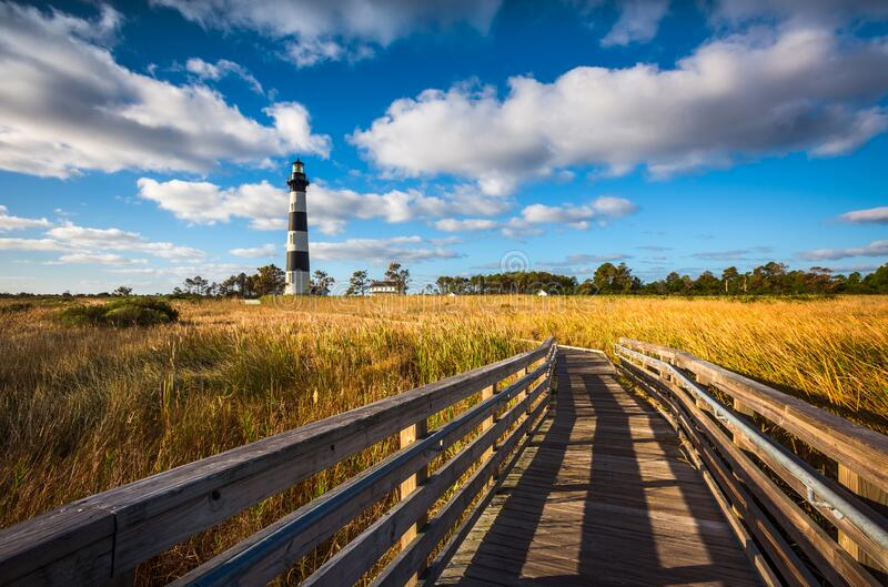 Bodie Island Lighthouse Outer Banks North Carolina Scenic Landscape Photography royalty free stock photo