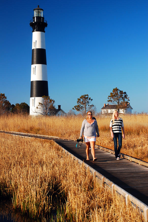 Bodie Island Lighthouse. Two women walk on a Boardwalk in marshland near the Bodie Island Lighthouse on the Outer Banks of North Carolina royalty free stock image