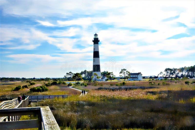 Bodie Island Lighthouse werd herbouwd in 1872 vele jaren nadat het brandwond aan de grond door verbonden troep te vluchten was stock afbeeldingen