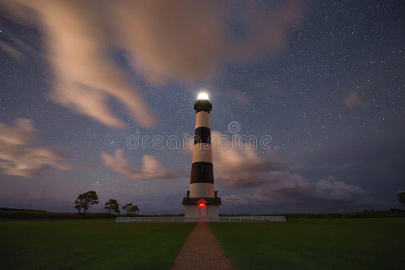 Bodie Lighthouse nachts stockbilder