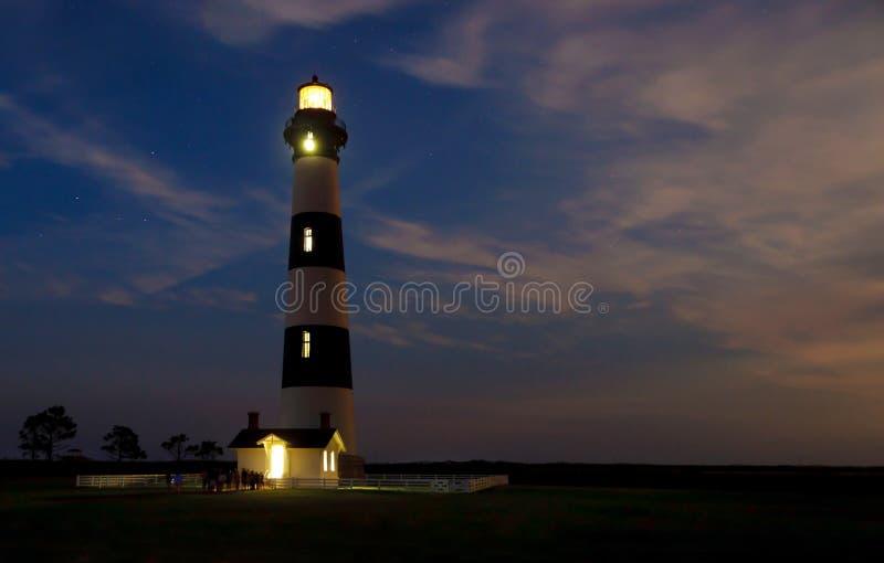 Bodie wyspa Lighhouse przy nocą obrazy royalty free