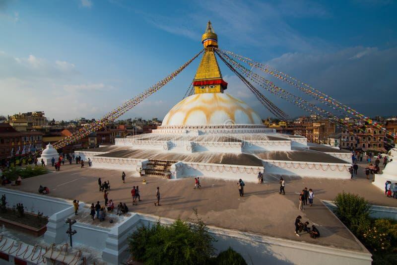 Bodnath (Boudha) Stupa,加德满都尼泊尔-世界最大的芽 免版税库存图片