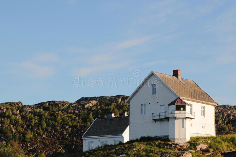 Bodoe's lighthouse. The lighthouse of Bodoe facing Lofoten islands, norwegian arctic circle royalty free stock images