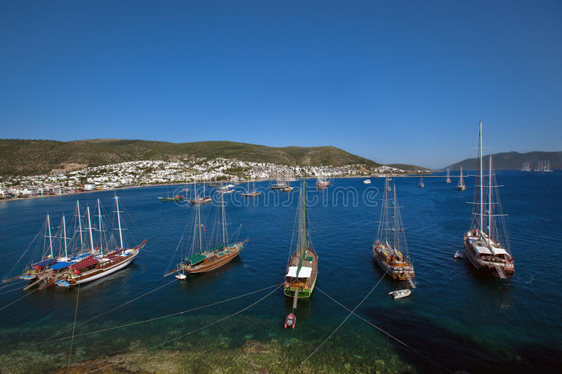Bodrum. Boats at Bodrum in the Aegean Sea, Turkey royalty free stock photos