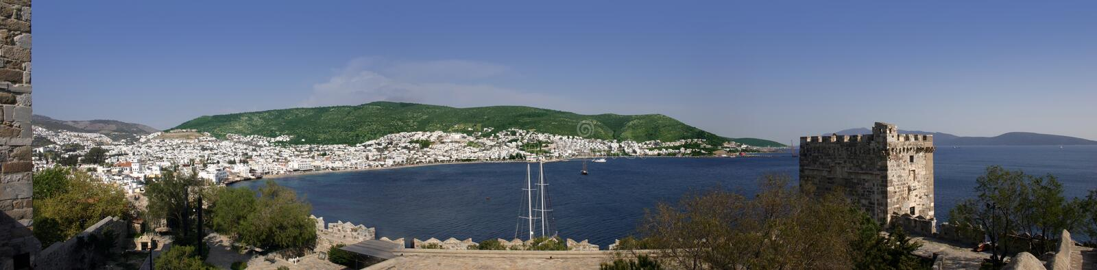 Bodrum Castle. Panorama of the bay in Bodrum, Turkey from the castle royalty free stock image
