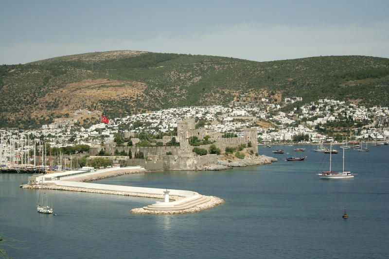 Bodrum castle. View and sea, turkey royalty free stock photo