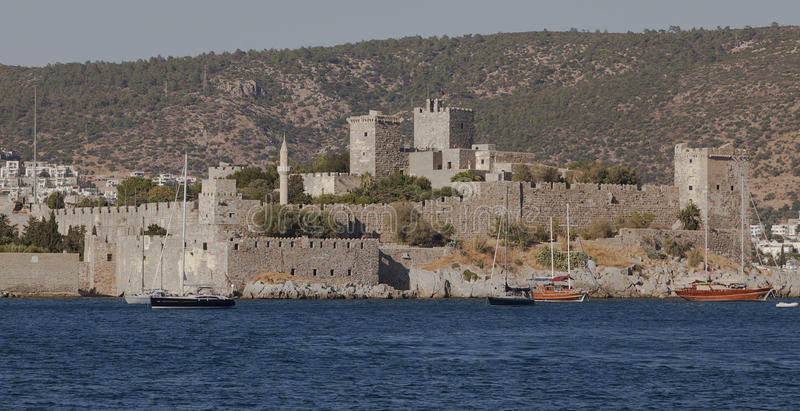 Bodrum Castle. Historical Bodrum Castle view in summer time stock images