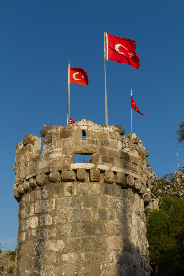 Bodrum Castle. Tower with Flags stock photos